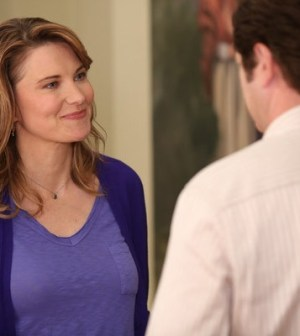 Lucy Lawless as Diane, Nick Offerman as Ron Swanson -- (Photo by: Tyler Golden/NBC)