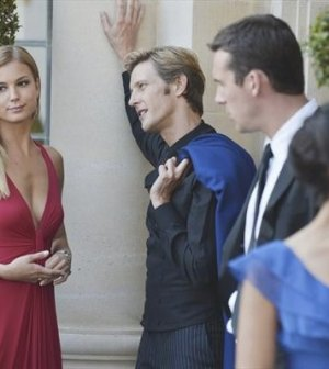 (l-r) Emily VanCamp, Gabriel Mann, Barry Sloane and Dilshad Vadsaria in ABC's Revenge.