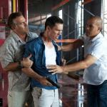 Bruce Campbell as Sam Axe, Jeffrey Donovan as Michael Westen, Coby Bell as Jesse Porter. Photo by Glenn Watson/USA