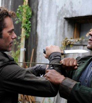 Billy Burke as Miles Matheson, Giancarlo Esposito as Captain Tom Neville -- (Photo by: Brownie Harris/NBC)