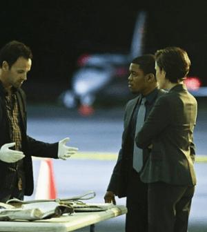 Jonny Lee Miller, Jon Michael Hill and guest star Reiko Aylesworth in Elementary. Image: Giovanni Rufino © CBS