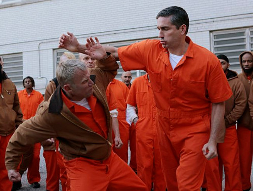 Reese (Jim Caviezel, right) crosses paths with an old foe, Byron (Terry Serpico, left). Photo: Giovanni Rufino/CBS