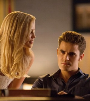Claire Holt and Paul Wesley in The Vampire Diaries. Image © The CW Network