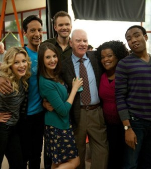 Malcolm McDowell and the cast of Community (Photo by: Colleen Hayes/NBC)