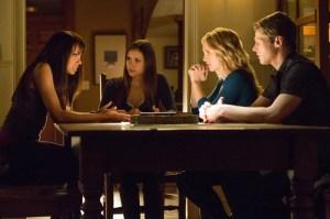 (L-R): Kat Graham as Bonnie, Nina Dobrev as Elena, Candice Accola as Caroline & Zach Roerig as Matt. Bob Mahoney/The CW
