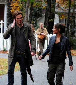 Billy Burke as Miles Matheson, Daniella Alonso as Nora -- (Photo by: Brownie Harris/NBC)