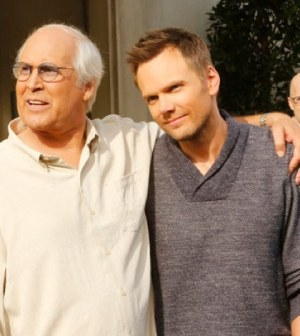 Chevy Chase as Pierce, Joel McHale as Jeff Winger, Jim Rash as Dean Pelton -- (Photo by: Vivian Zink/NBC)