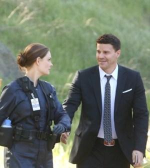 Emily Deschanel and David Boreanaz in Bones. Image © FOX