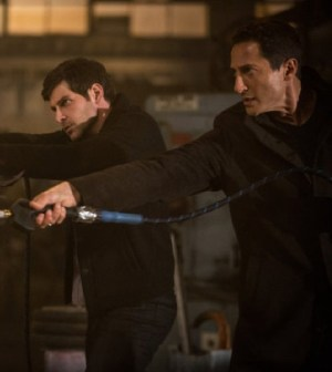 "David Giuntoli (l) and Sasha Roiz (r) Face the Heat in Grimm's ""Ring of Fire"" -- Image © NBC"