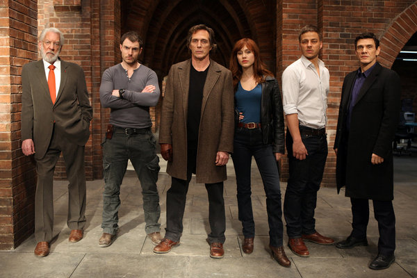 CROSSING LINES -- Season: 1 -- Pictured: (l-r) Donald Sutherland as Dorn, Richard Flood as Tommy McConnel, William Fichtner as Carl Hickman, Gabriella Pession as Eva Vittoria, Tom Wlaschiha as Sebastian Berger and Marc Lavoine as Louis Bernard -- (Photo by: Dusan Martincek/Tandem)