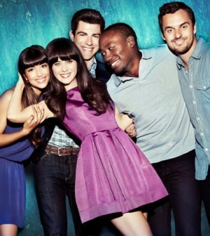 Cast L-R: Hannah Simone, Zooey Deschanel, Max Greenfield, Lamorne Morris and Jake Johnson.