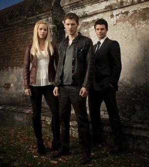 Pictured (L-R): Claire Holt as Rebekah, Joseph Morgan as Klaus. and Daniel Gillies as Elijah -- Photo: Mathieu Young/The CW -- © 2013 The CW Network, LLC. All rights reserved.
