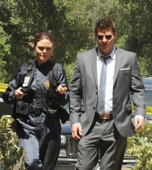 Brennan (Emily Deschanel, L) and Booth (David Boreanaz, R) :  Ray Mickshaw/FOX