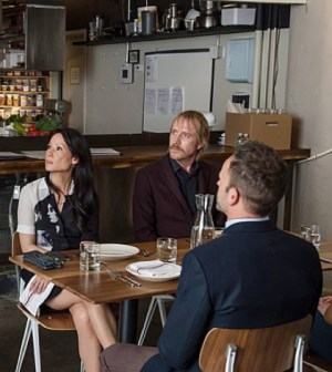 Lucy Liu, Rhys Ifans and Jonny Lee Miller in Elementary. Photo: Jeff Neumann /CBS ©2013 CBS