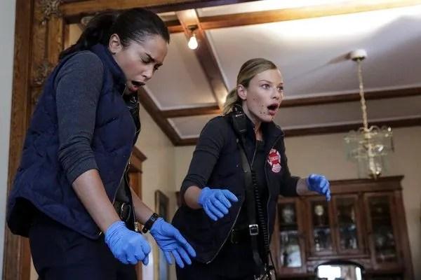 Pictured: (l-r) Monica Raymund as Gabriela Dawson, Lauren German as Leslie Shay -- (Photo by: Elizabeth Morris/NBC)