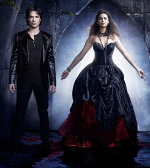 Ian Somerhalder as Damon and Nina Dobrev as Elena in The Vampire Diaries. Image © CW