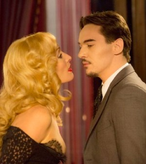 Pictured: (l-r) Victoria Smurfit as Lady Jayne Wetherby, Jonathan Rhys Meyers as Alexander Grayson -- (Photo by: Jonathon Hession/NBC)
