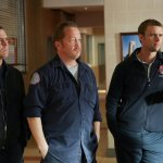 Pictured: (l-r) David Eigenberg as Christopher Herrmann, Christian Stolte as Mouch, Jesse Spencer as Matthew Casey -- (Photo by: Elizabeth Morris/NBC)