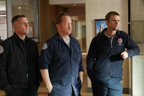 Pictured: (l-r) David Eigenberg as Christopher Herrmann, Christian Stolte as Mouch, Jesse Spencer as Matthew Casey -- (Photo by: Elizabeth Morris/NBC)