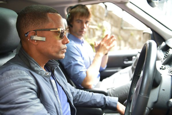 Pictured: (l-r) Hill Harper as Calder Michaels, Chris Gorham as Auggie Anderson -- (Photo by: USA Network)