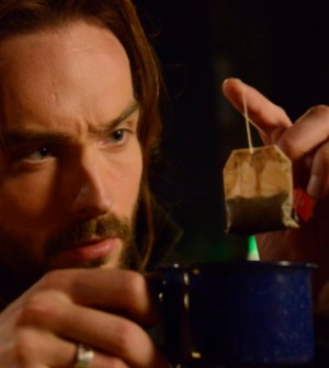"""Everything stops for tea. Tom Mison is intrigued by a tea bag in Sleepy Hollow's """"Into Darkness"""" Co. CR: Brownie Harris/FOX"""