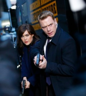 Pictured: (l-r) Megan Boone as Elizabeth Keen, Diego Klattenhoff as Donald Ressler -- (Photo by: Will Hart/NBC)