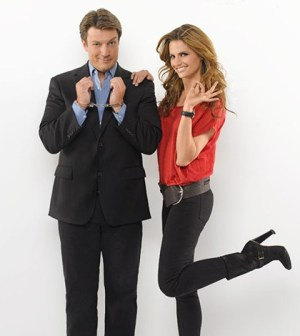 (L-R) Nathan Fillion as Castle. Stana Katic as Beckett. Image © ABC