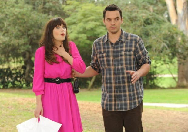 Jess (Zooey Deschanel, L) thinks Nick (Jake Johnson, R) organized a party for her at the local park. Co.  Cr:  Ray Mickshaw/FOX