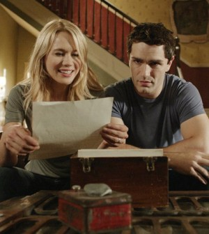 Kristen Hager as Nora (L) and Sam Witwer as Aidan. Image © Syfy