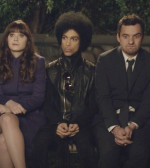 "NEW GIRL: Music royalty Prince (C)  makes a special guest appearance in the ""Party Time"" episode of NEW GIRL."
