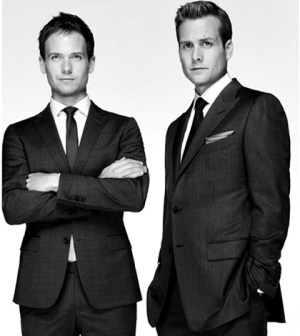 Pictured (L-R) : Patrick J. Adams as Mike Ross. Gabriel Macht as Harvey Specter. Image © USA Network