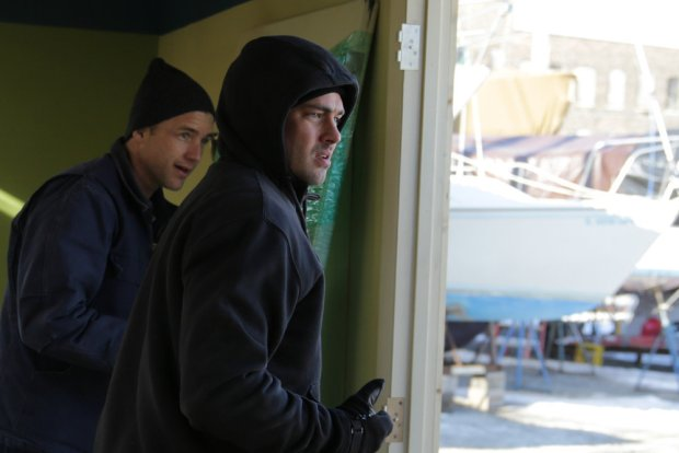 Pictured: (l-r) Jeff Hephner as Clarke, Taylor Kinney as Kelly Severide -- (Photo by: Elizabeth Morris/NBC)