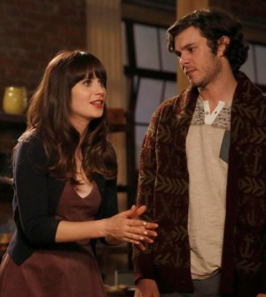 "Jess (Zooey Deschanel, L) is forced to spend time with her ex-boyfriend, Berkley (guest star Adam Brody, R) in New Girl's ""Exes"" Image Co.  Cr: Ray Mickshaw/FOX"