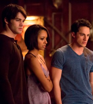 Pictured (L-R): Steven R. McQueen as Jeremy, Kat Graham as Bonnie, Michael Trevino as Tyler. Photo: Blake Tyers/The CW