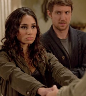 Pictured: (l-r) Meaghan Rath as Sally Malik, Sam Huntington as Josh Levison -- (Photo by: Pana Pantazidis/Syfy)