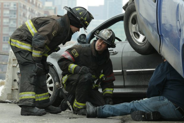 Pictured: (l-r) Jesse Spencer as Matthew Casey, Taylor Kinney as Kelly Severide -- (Photo by: Elizabeth Morris/NBC)