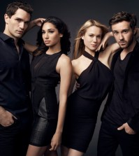 Pictured: (l-r) Sam Witwer as Aidan Waite, Meaghan Rath as Sally Malik, Kristen Hanger as Nora Sergeant, Sam Huntington as Josh Levison -- (Photo by: Art Streiber/Syfy)