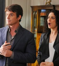 Pictured: (l-r) Eddie McClintock as Pete Lattimer, Joanne Kelly as Myka Bering -- (Photo by: Steve Wilkie/Syfy)