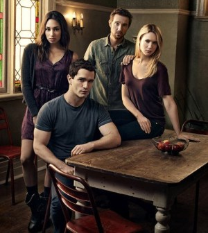 Pictured (L-R): Meaghan Rath, Sam Witwer, Sam Huntington, Kristen Hanger -- Photo by: Art Streiber/Syfy