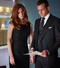 Pictured: (l-r) Sarah Rafferty as Donna Paulsen, Gabriel Macht as Harvey Specter -- (Photo by: Shane Mahood/USA Network)