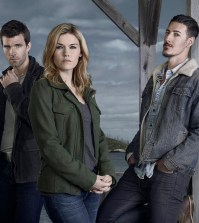 HAVEN -- Season:5 -- Pictured (L-R) Lucas Bryant as Nathan Wuornos, Emily Rose as Audrey Parker, Eric Balfour as Duke Crocker.