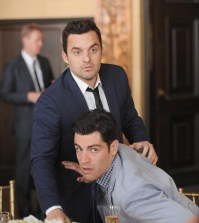 Schmidt (Max Greenfield, R) and Nick (Jake Johnson, L). ©2014 Fox Broadcasting Co. Cr:  Ray Mickshaw/FOX.