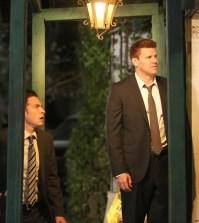 Booth (David Boreanaz) and Aubrey (John Boyd) Investigate a lead. Co.  Cr:  Patrick McElhenney/FOX