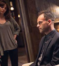Pictured (L-R) Ophelia Lovibond as Kitty Winter and  Jonny Lee Miller as Sherlock Holmes Photo: Jeff Neumann/CBS