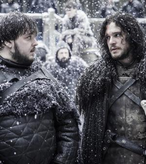 Pictured: John Bradley as Samwell Tarly, Kit Harington as Jon Snow Photographer: Helen Sloan/HBO