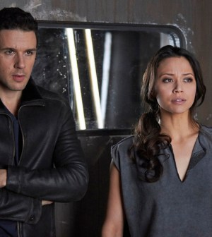 Pictured: (l-r) Mark Bendavid as One, Melissa O'Neil as Two -- (Photo by: Russ Martin/Prodigy Pictures/Syfy)