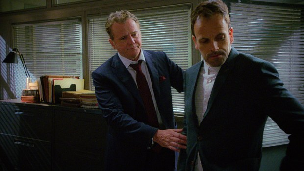 Pictured Aidan Quinn as Captain Tommy Gregson and Jonny Lee Miller as Sherlock Holmes Photo: Best Possible Screen Grab ©2015 CBS Broadcasting, Inc. All Rights Reserved