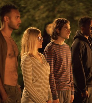 Pictured: (l-r) Arjun Gupta as Penny, Olivia Taylor Dudley as Alice, Jason Ralph as Quentin -- Photo by: Eike Schroter/Syfy