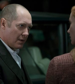 Pictured: (l-r) James Spader as Red Reddington, Lotte Verbeek as Woman -- (Photo by: Virginia Sherwood/NBC)