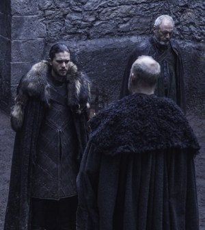 Pictured: Kit Harington as Jon Snow, Liam Cunningham as Davos Seaworth, Tim McInnerny as Robett Glover Credit: Helen Sloan/HBO